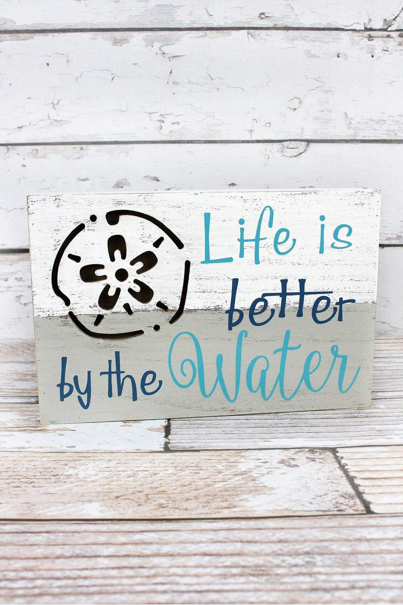 7.75 x 11.75 'Better By The Water' Sand Dollar Wood Box Sign