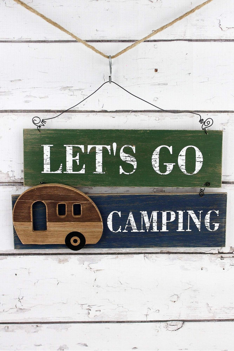 8.5 x 14.5 'Let's Go Camping' Wood Wall Hanging