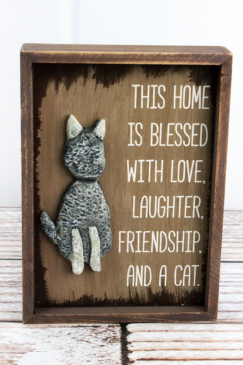 7 x 5 'This Home Is Blessed' Stone Cat Sign
