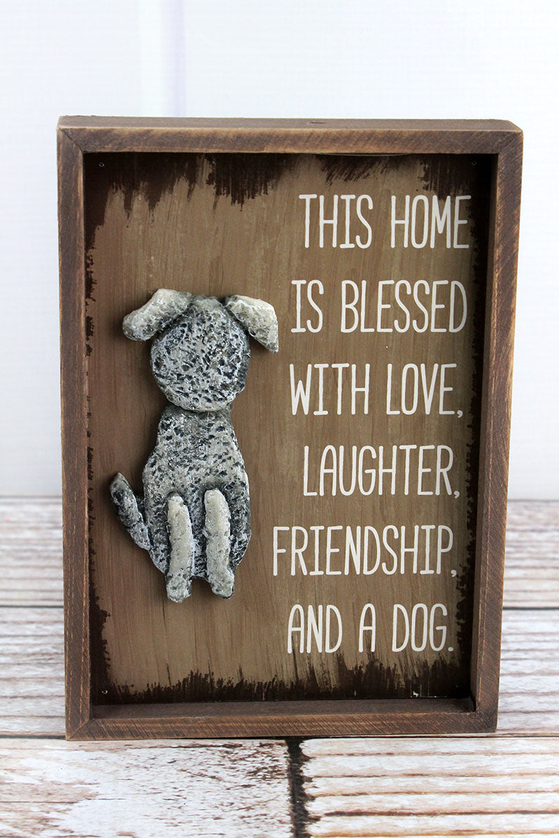 7 x 5 'This Home Is Blessed' Stone Dog Sign