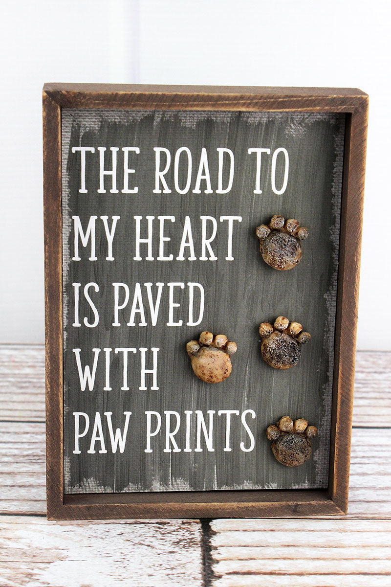 7 x 5 'Road To My Heart' Stone Paw Prints Sign