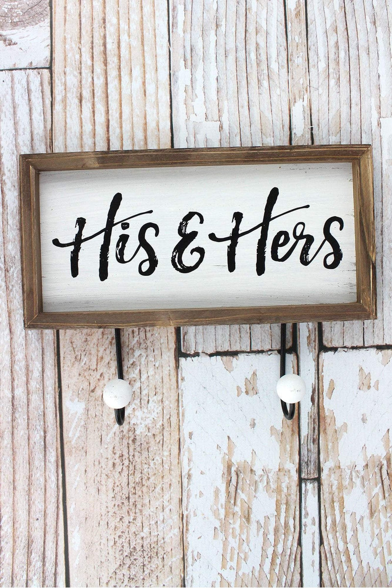 9.5 x 12.25 'His & Hers' Framed Wood Wall Hook