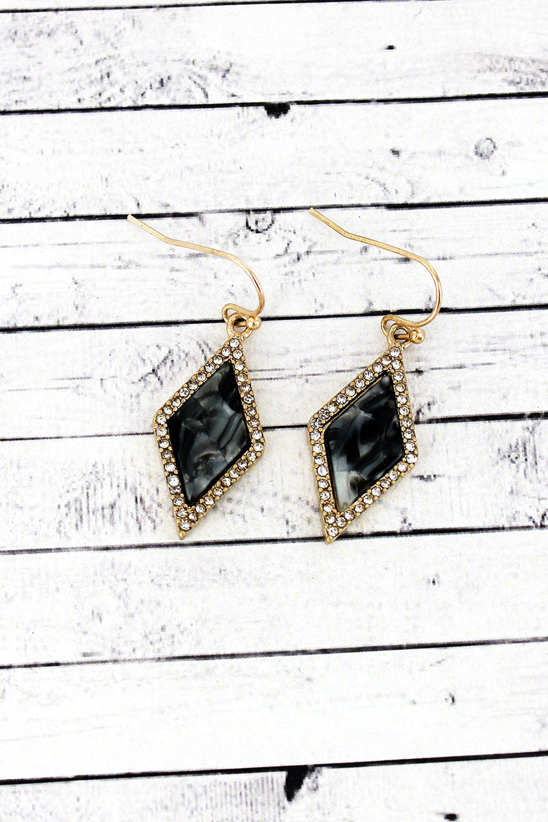 Crystal Trimmed Gray Marbled Stone Diamond Earrings