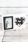 7.75 x 11.75 'Mr & Mrs' Heart Wood and Tin 4x6 Photo Frame