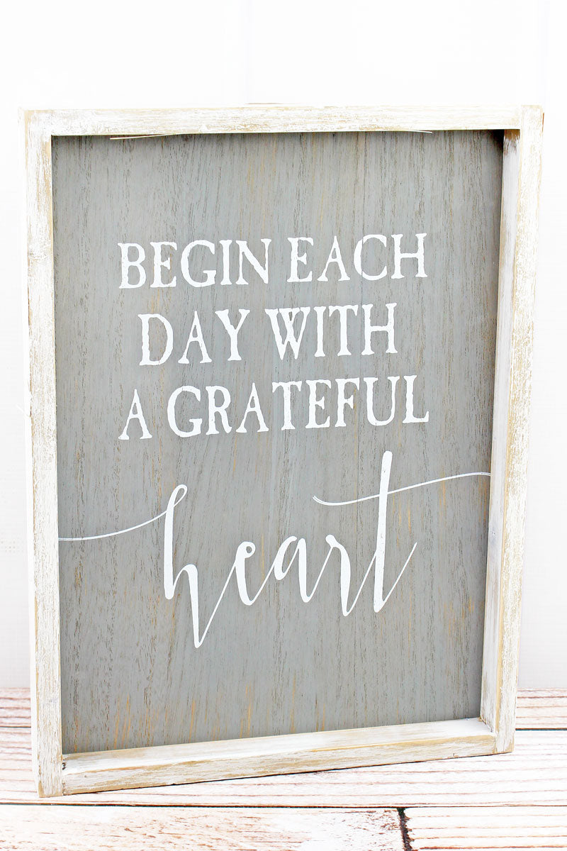 16 x 12 'Grateful Heart' Distressed Wood Framed Wall Sign