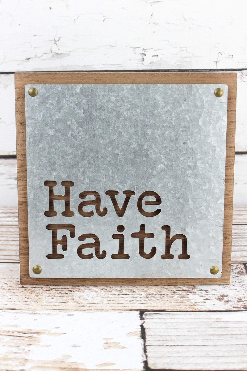 9.5 x 9.5 'Have Faith' Cut-Out Tin and Wood Wall Sign
