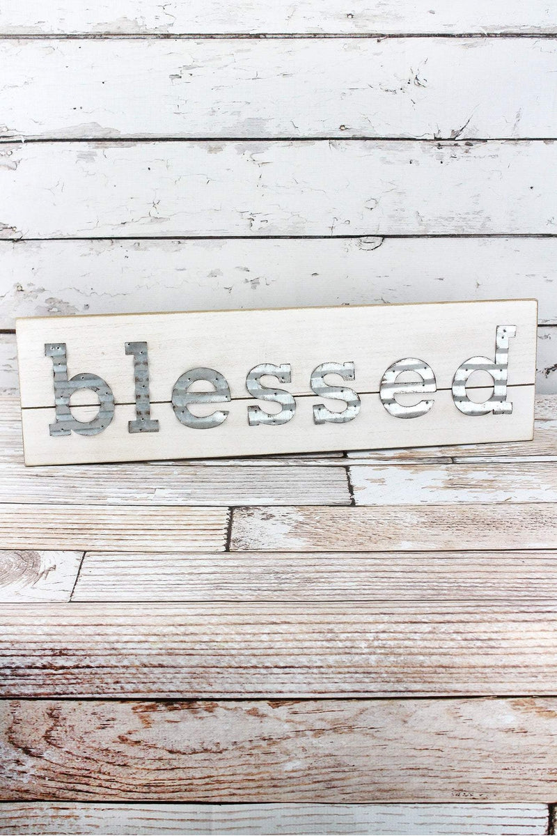 6.75 x 23.5 'Blessed' Tin and Wood Wall Sign
