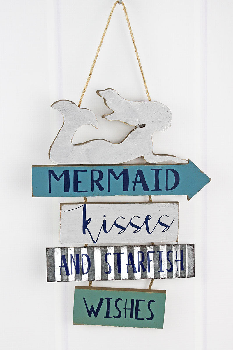 13 x 9.5 'Mermaid Kisses and Starfish Wishes' Wall Hanging