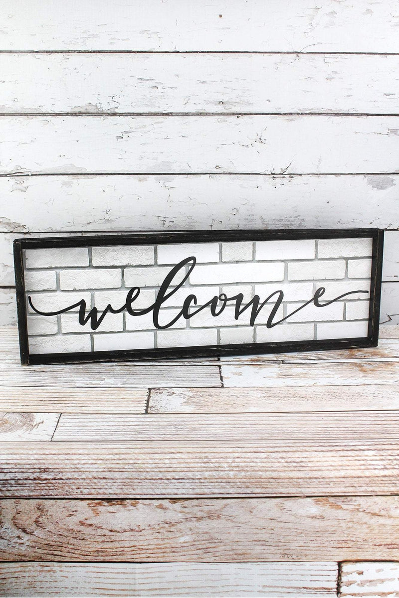 9.5 x 28 'Welcome' Framed Wood Wall Sign