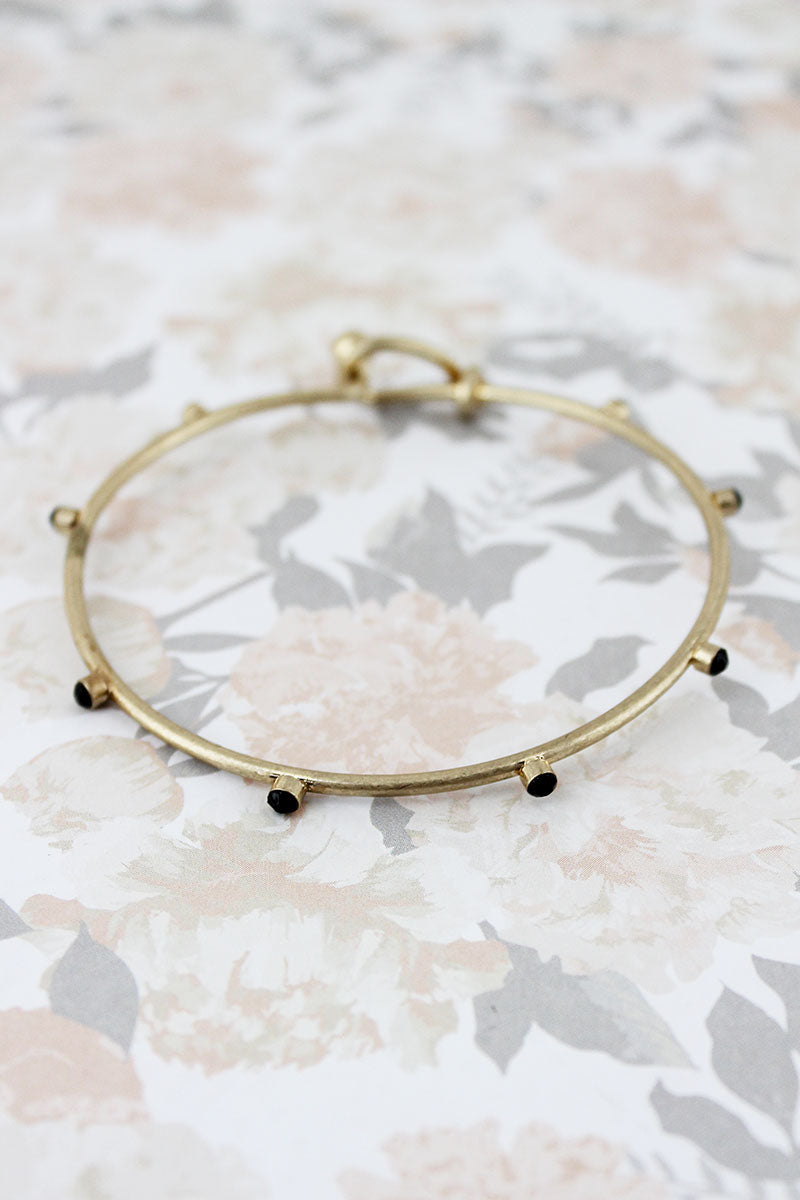 SALE! Black Crystal Studded Goldtone Bangle