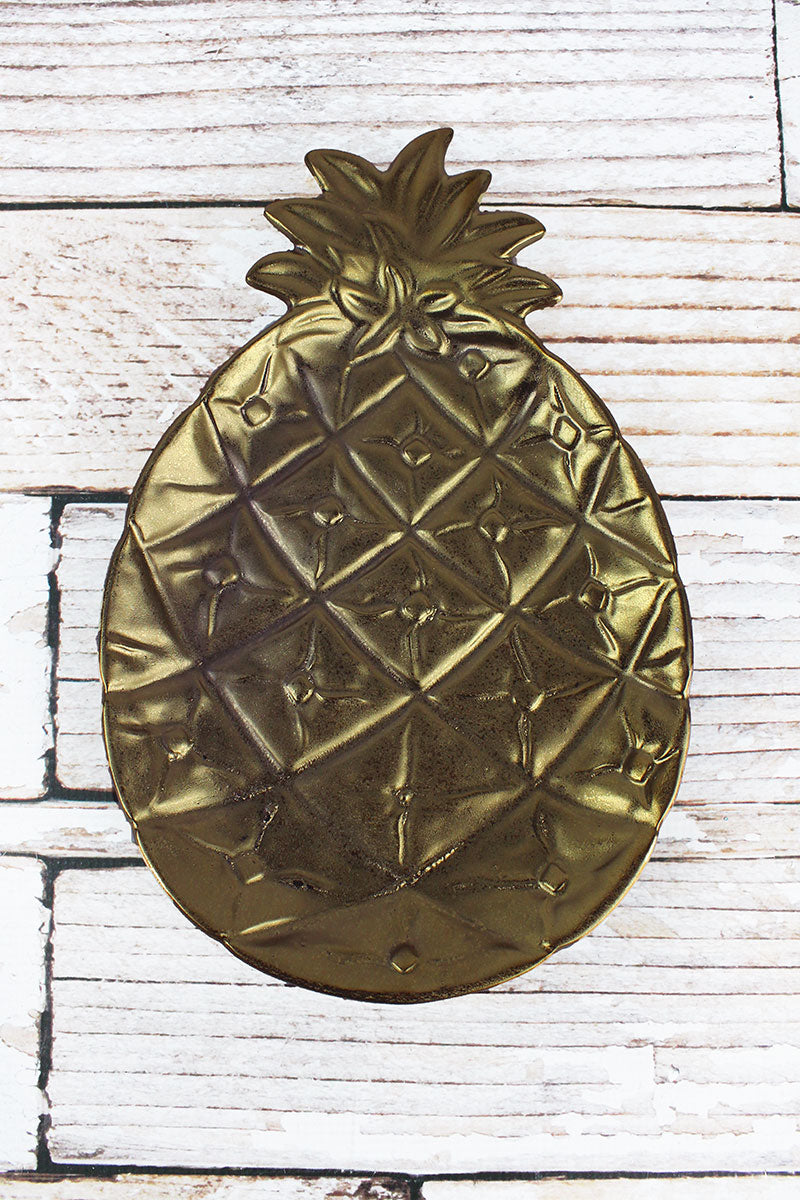 11.75 x 7.75 Gold Ceramic Pineapple Decor Plate