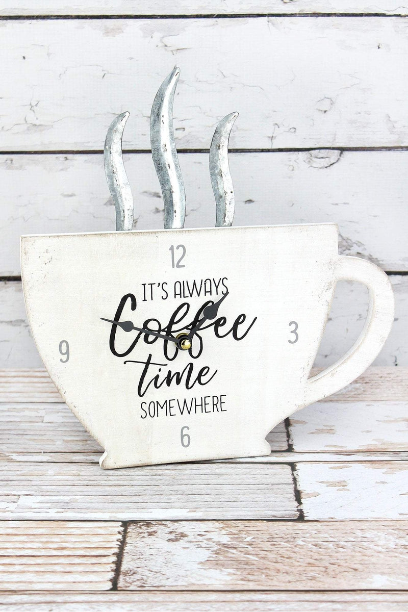 12.5 x 12 'It's Always Coffee Time Somewhere' Wall/Table Clock