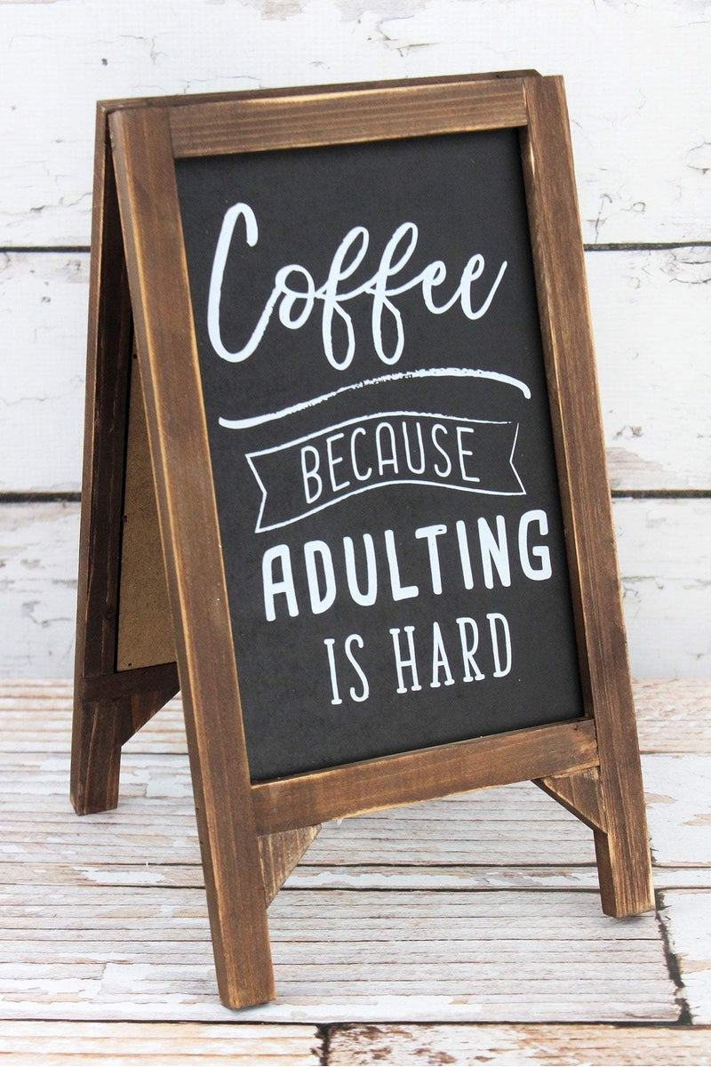 13 x 7 'Coffee Because Adulting Is Hard' Wood Chalkboard Stand