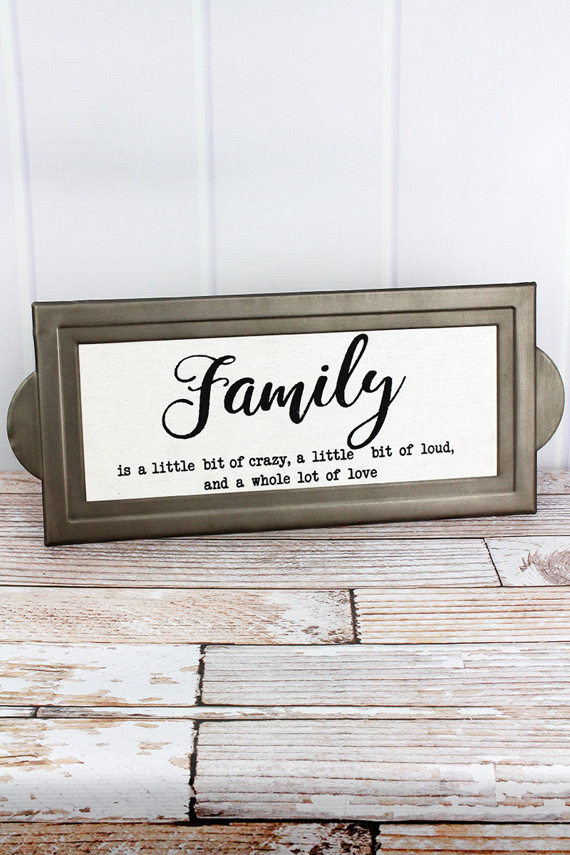 9.5 x 22 'Family' Metal and Canvas Tag Sign