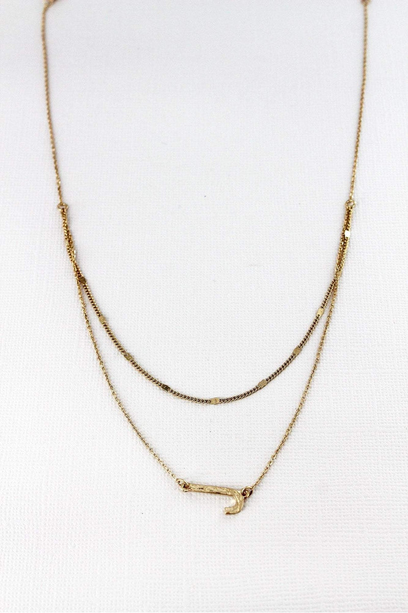 Crave Layered Goldtone 'J' Initial Necklace