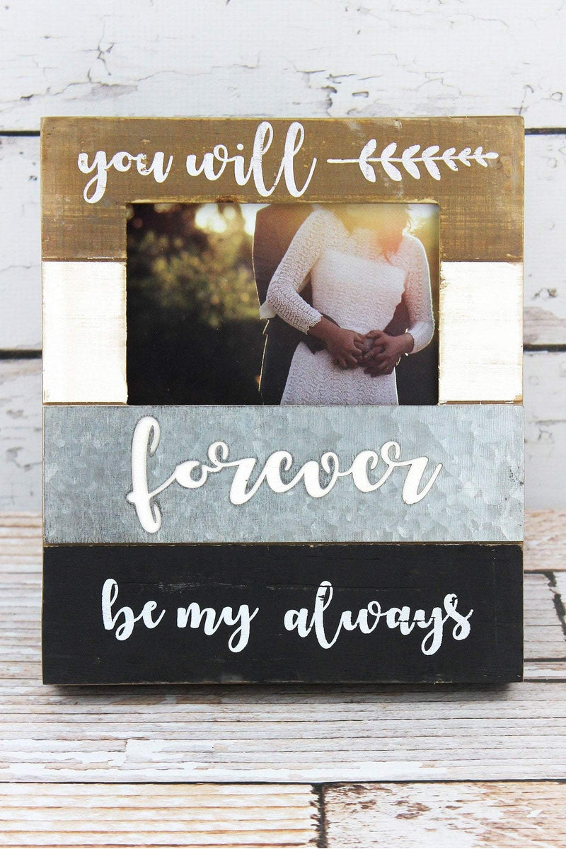 10 x 8.25 'Forever' Wood and Tin 4x6 Photo Frame