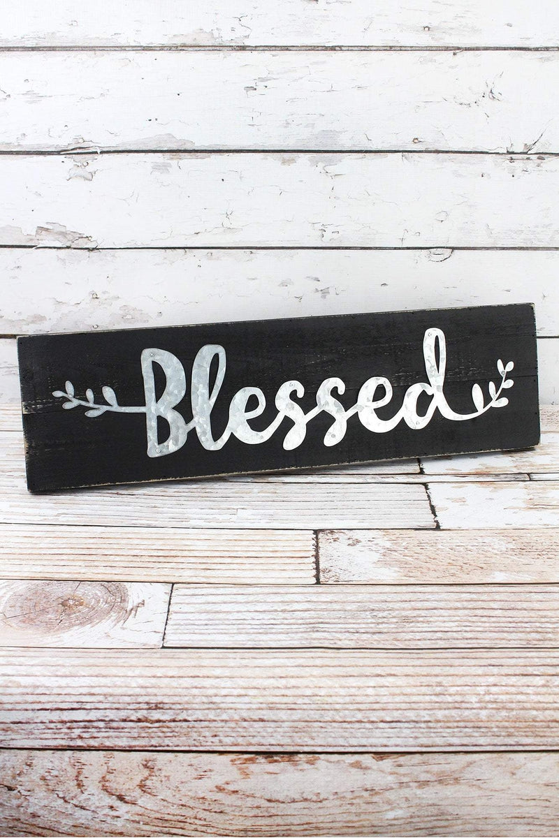 6.75 x 24 'Blessed' Tin and Wood Wall Sign