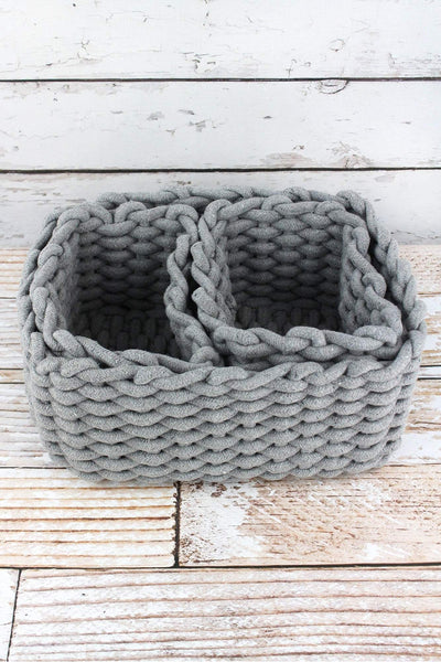 3 Piece Gray Woven Basket Set
