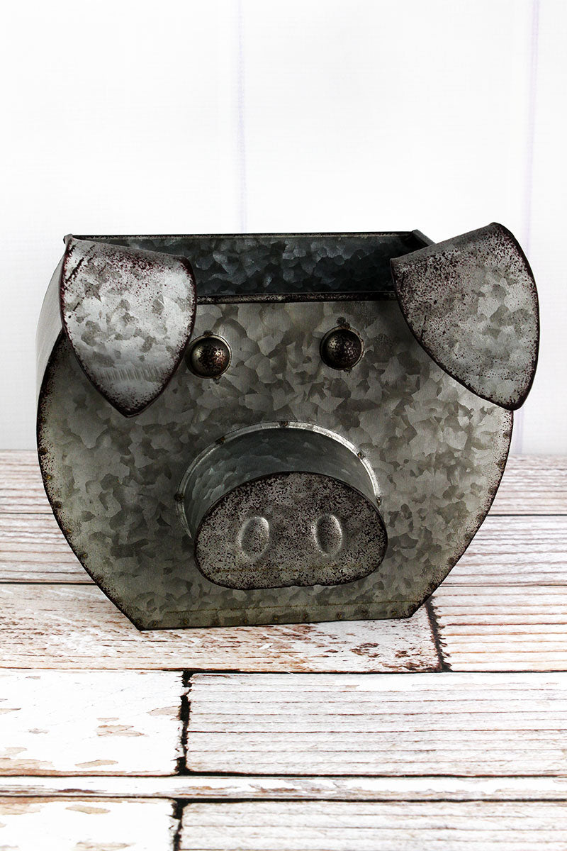 9 x 9.75 Tin Pig Shaped Bucket