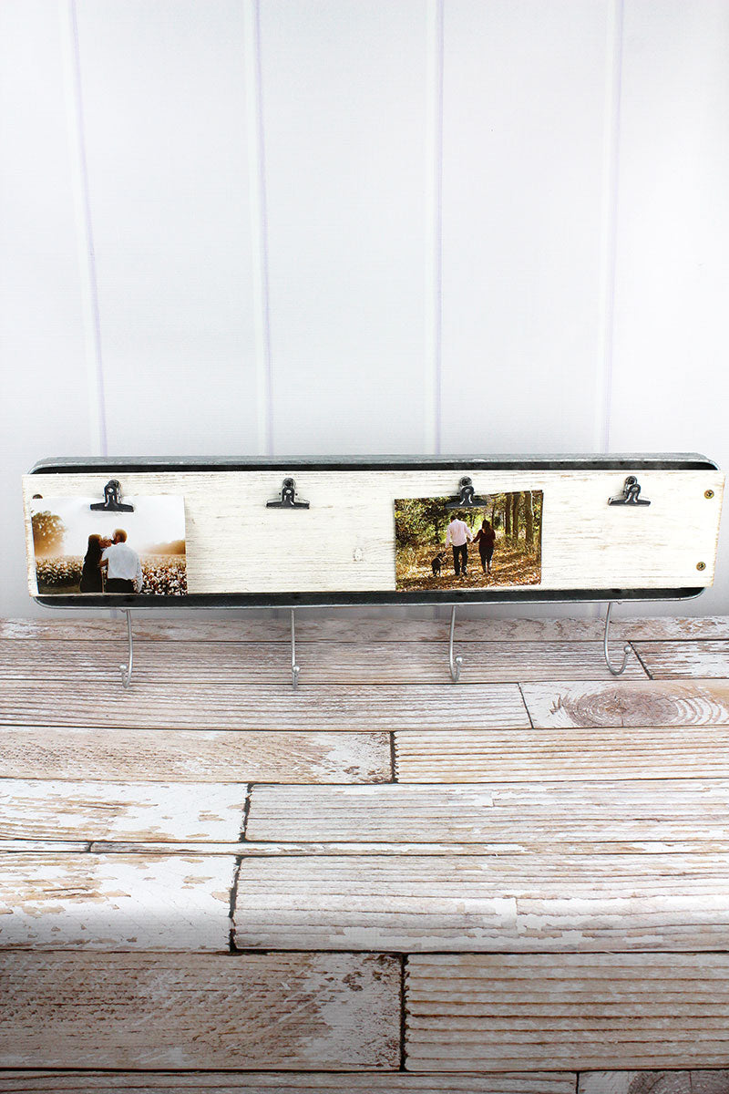 10 x 28 Wood and Tin Photo Display Wall Hook