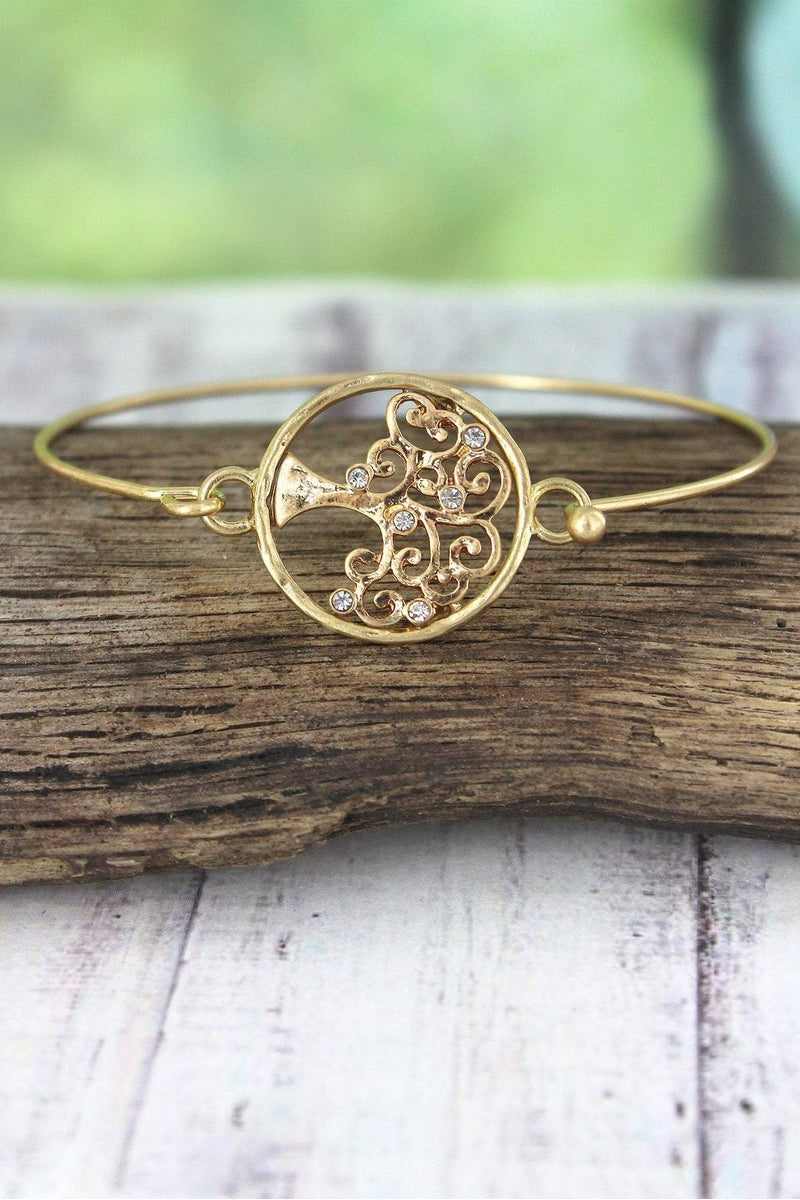 Crave Worn Goldtone and Crystal Tree of Life Bangle
