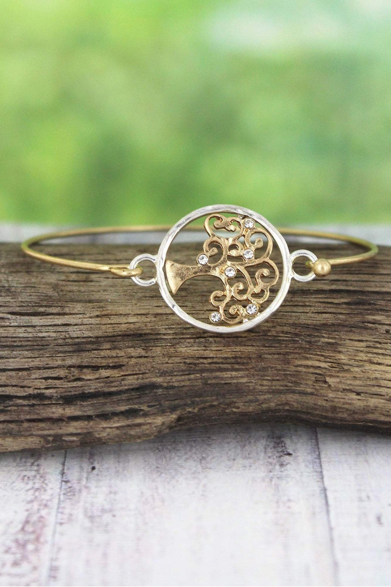 Crave Worn Two-Tone and Crystal Tree of Life Bangle