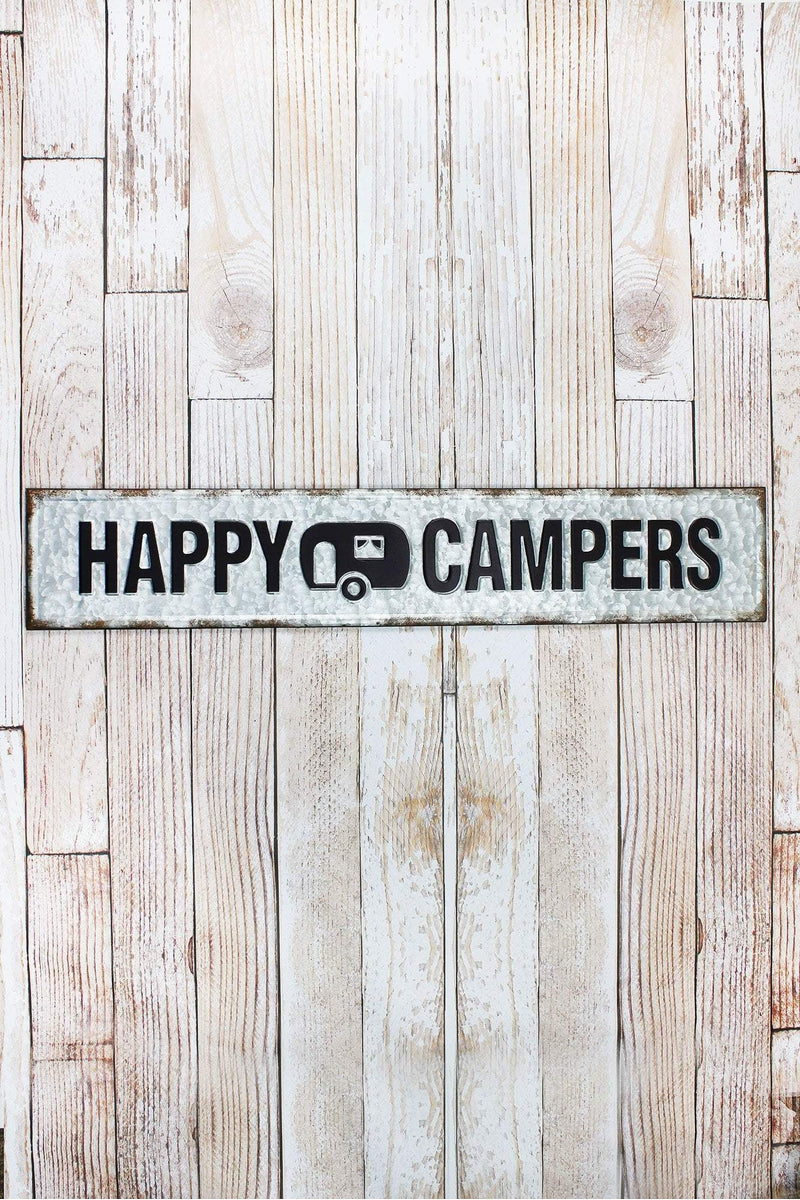 7.25 x 39 'Happy Campers' Tin Wall Sign