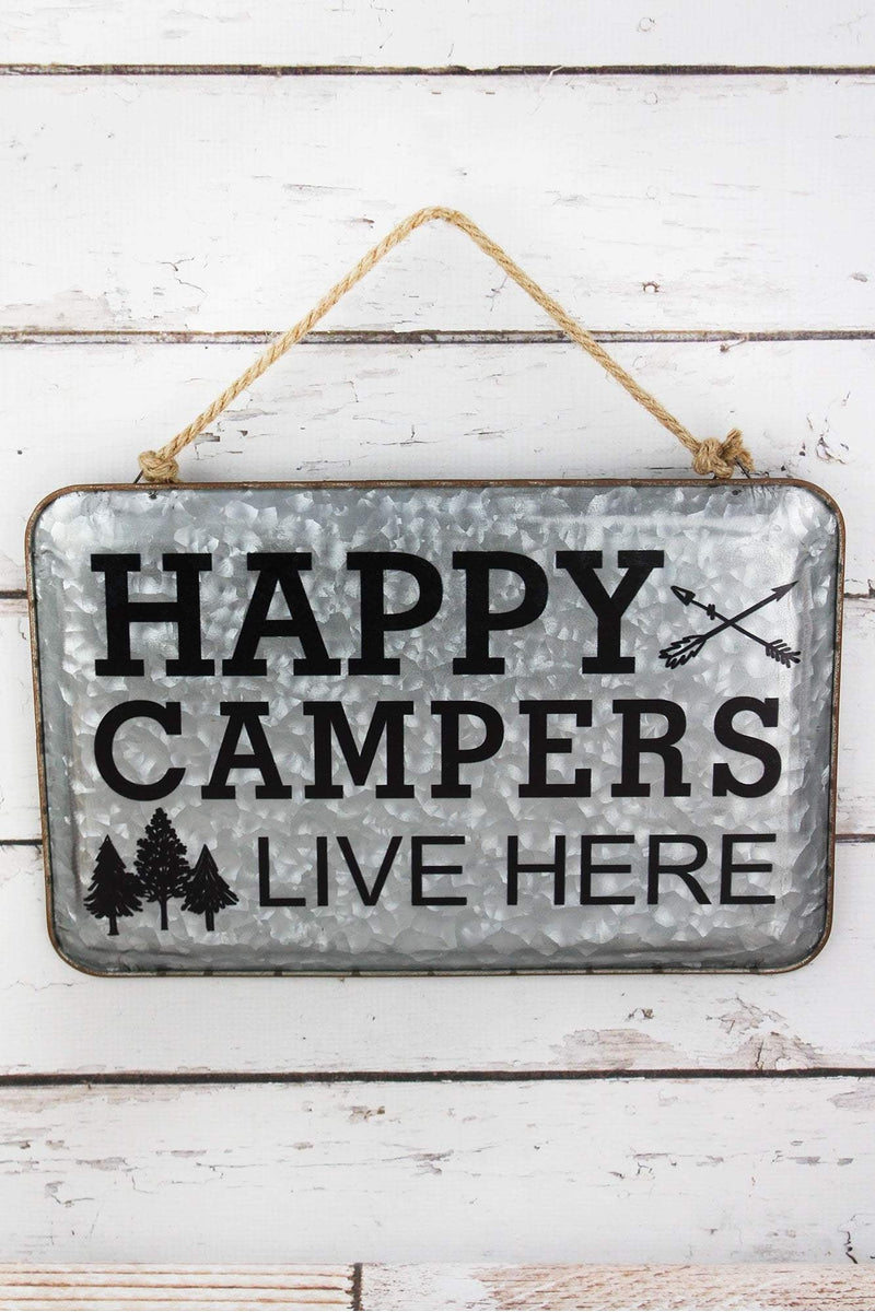 10.25 x 15.5 'Happy Campers Live Here' Tin Wall Sign