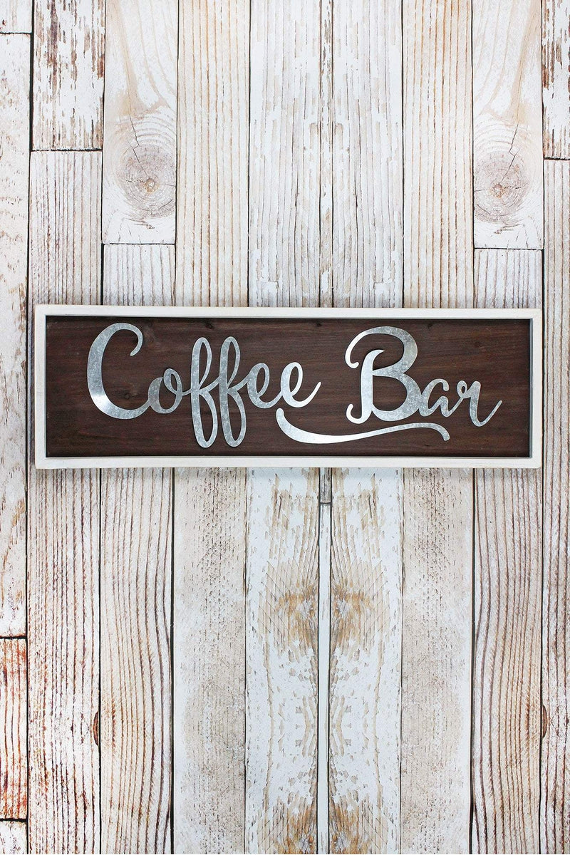 9.5 x 30 'Coffee Bar' Framed Tin and Wood Sign