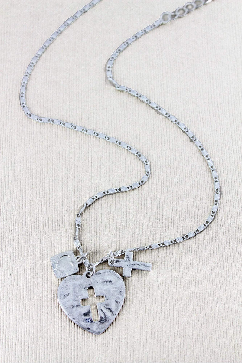 Crave Worn Silvertone Cut-Out Cross Heart with Charms Necklace