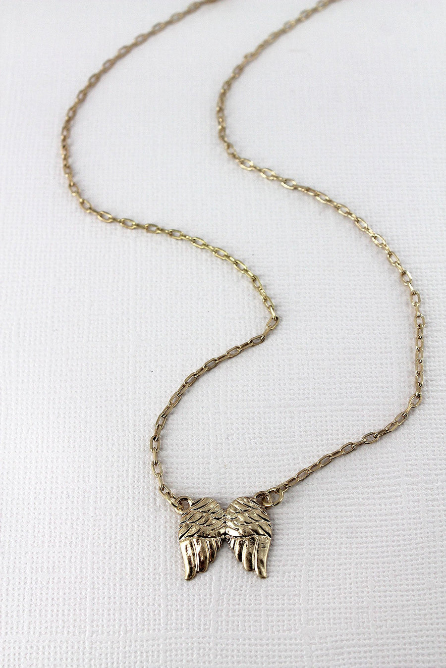 Crave Worn Goldtone Angel Wings Necklace