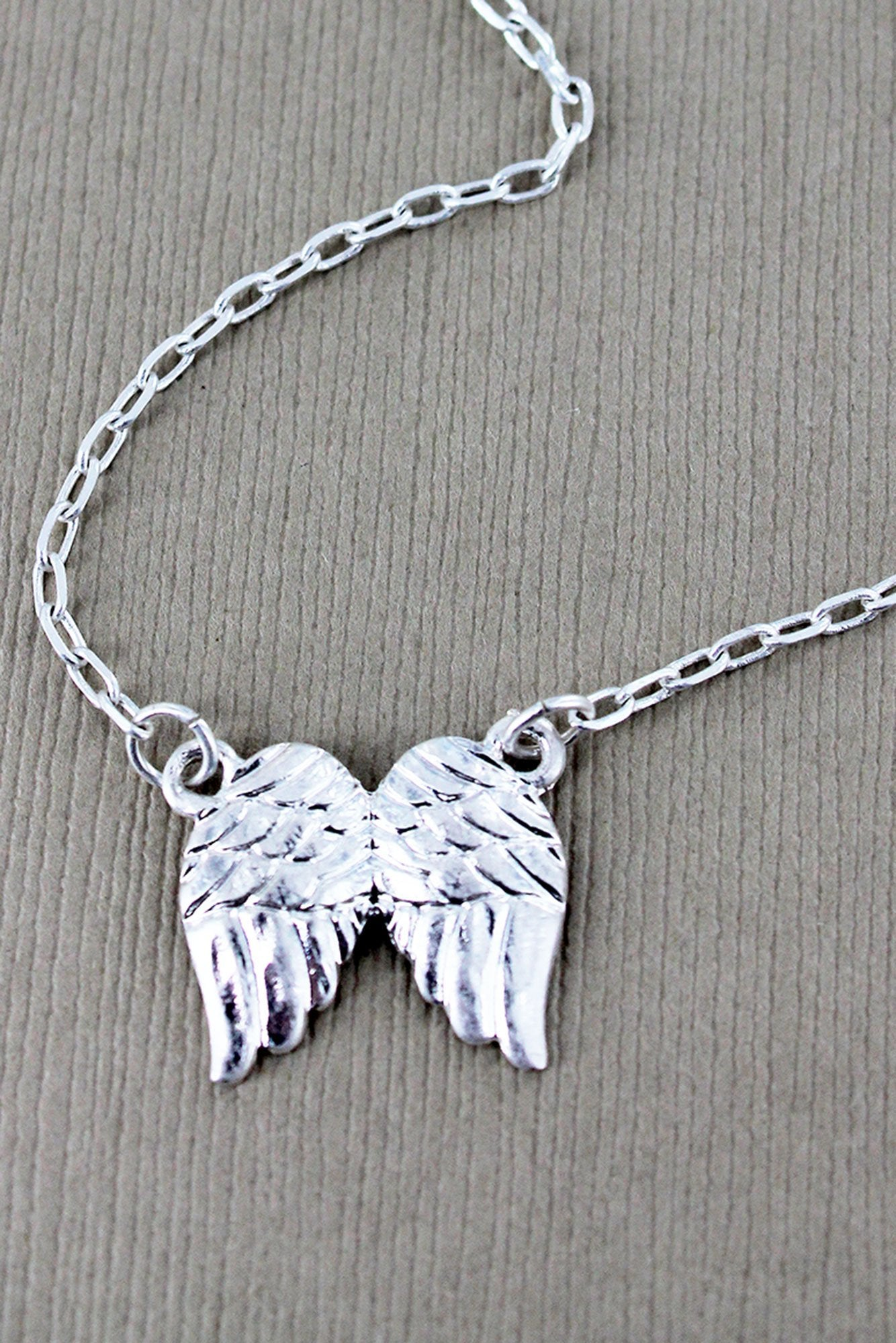 Crave Worn Silvertone Angel Wings Necklace