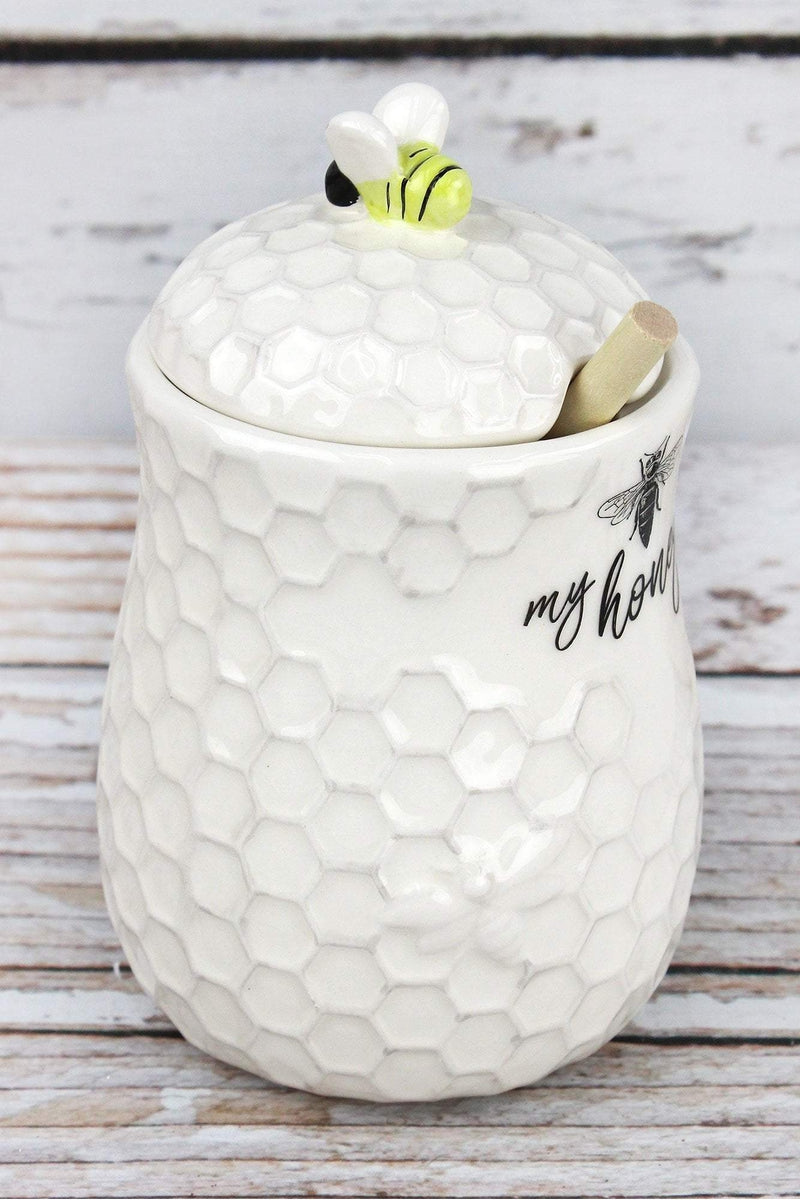 Ceramic Honey Jar with Wooden Dipper, 6""