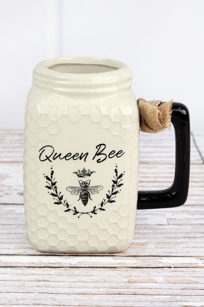 Ceramic 'Queen Bee' Mason Jar Mug
