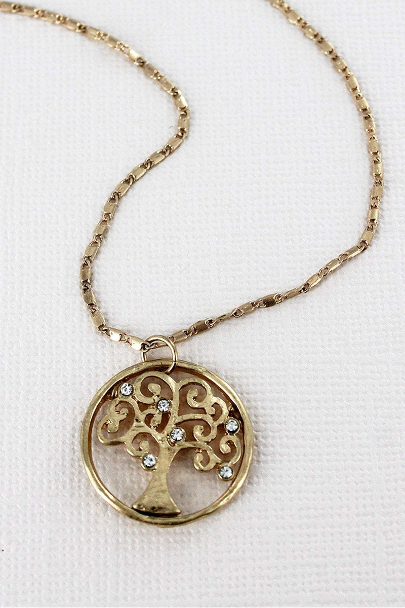 Crave Worn Goldtone and Crystal Tree of Life Necklace