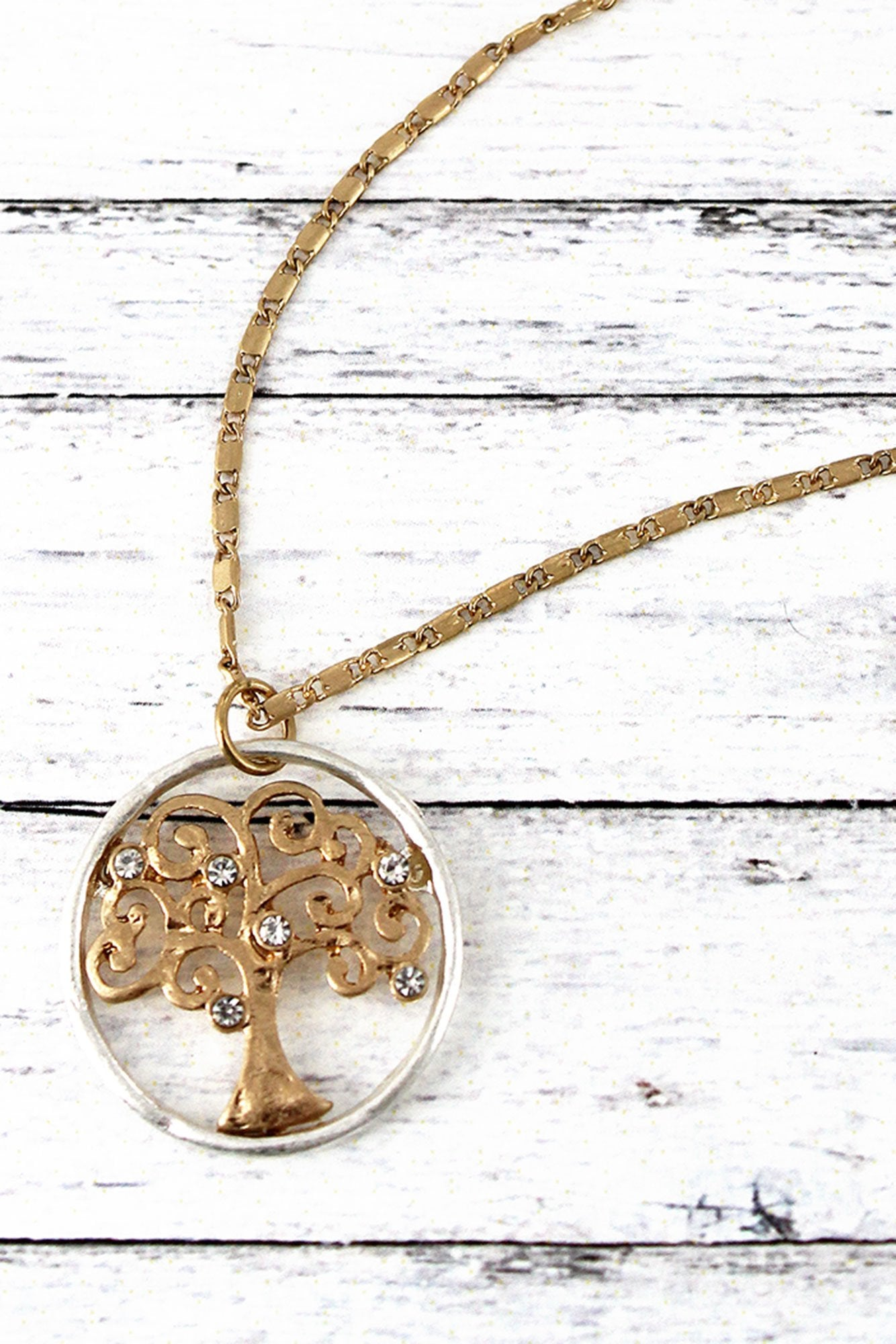Crave Worn Two-Tone and Crystal Tree of Life Necklace