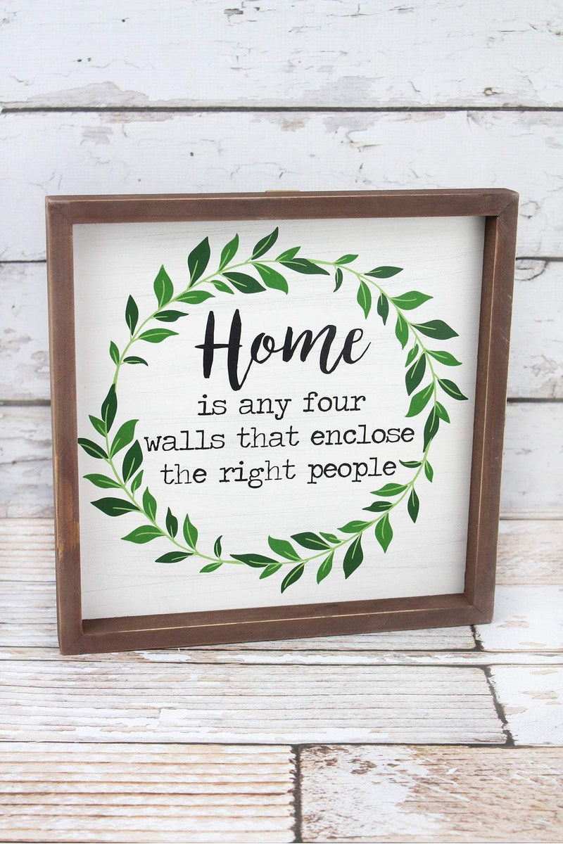 12 x 12 'Home' Framed Wood Box Sign