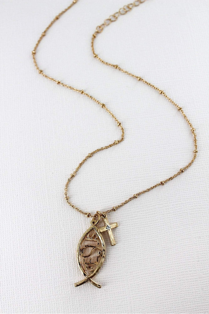 Crave Worn Goldtone Jesus Fish and Cross Necklace