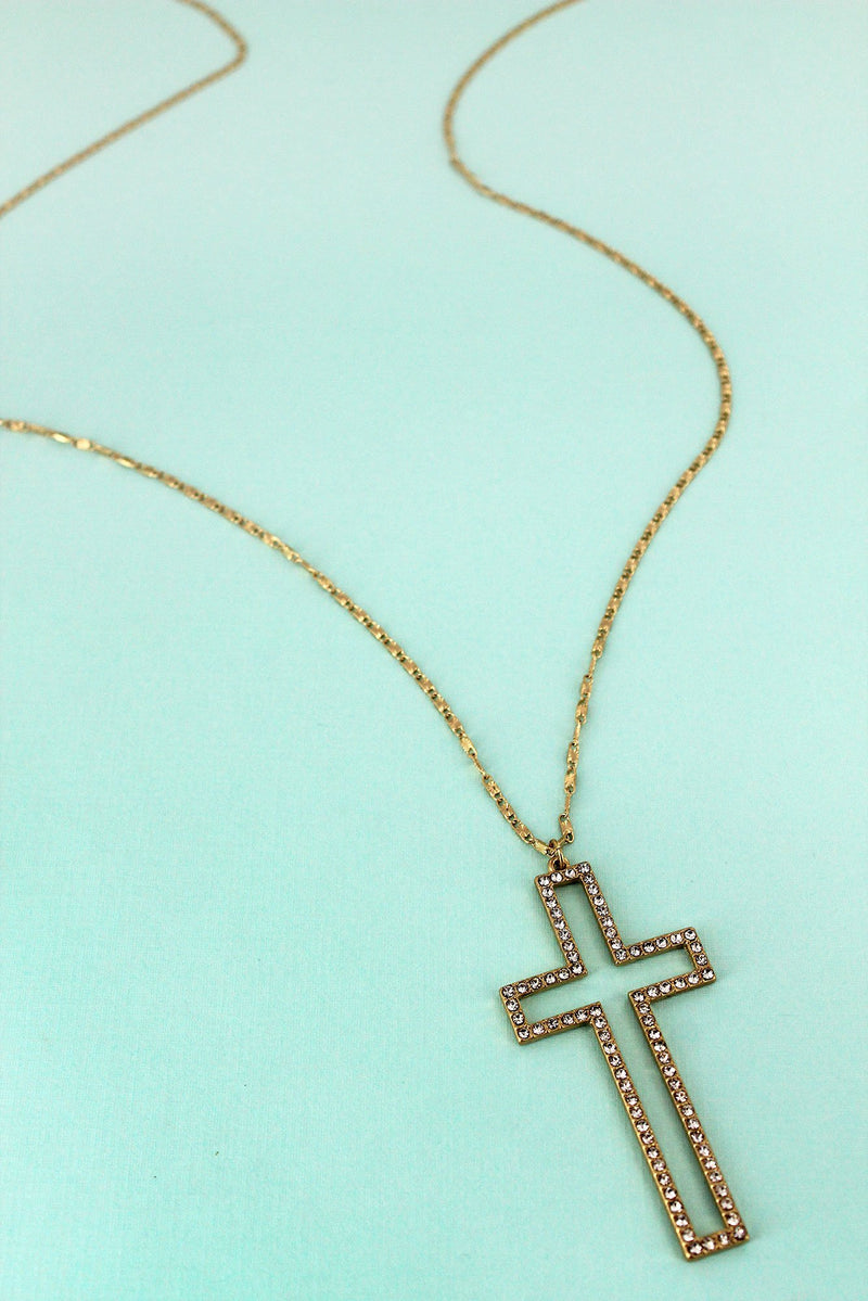 Crave Crystal Pave Worn Goldtone Cross Pendant Necklace