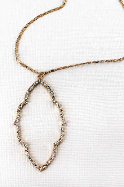 Crave Crystal Pave Worn Goldtone Moroccan Pendant Necklace