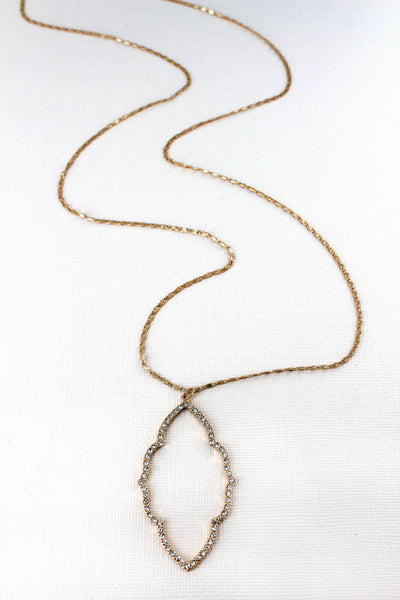 SALE! Crave Crystal Pave Worn Goldtone Moroccan Pendant Necklace