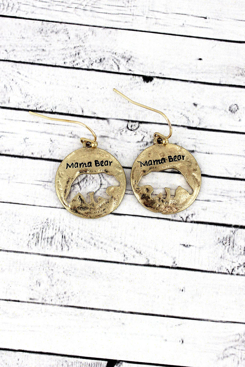 Crave Worn Goldtone 'Mama Bear' Cut-Out Disk Earrings
