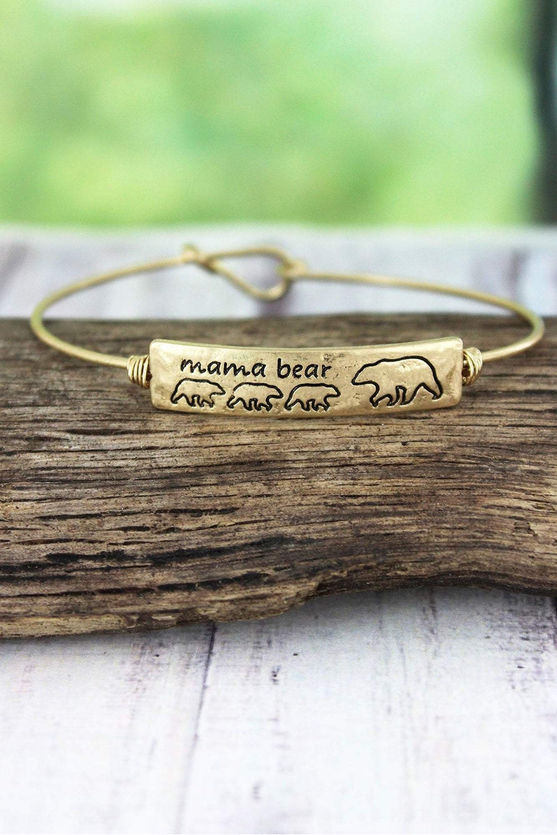 Crave Worn Goldtone Mama Bear with Three Cubs Bangle