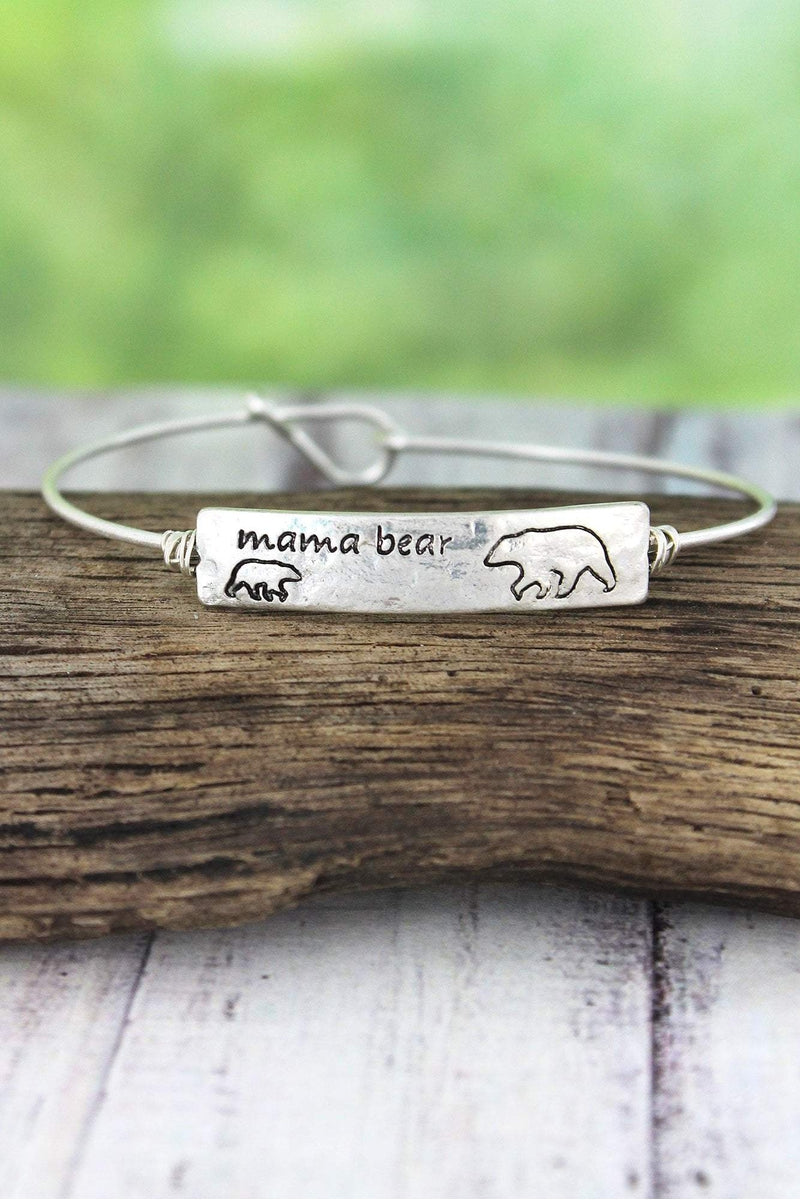 Crave Worn Silvertone Mama Bear with One Cub Bangle