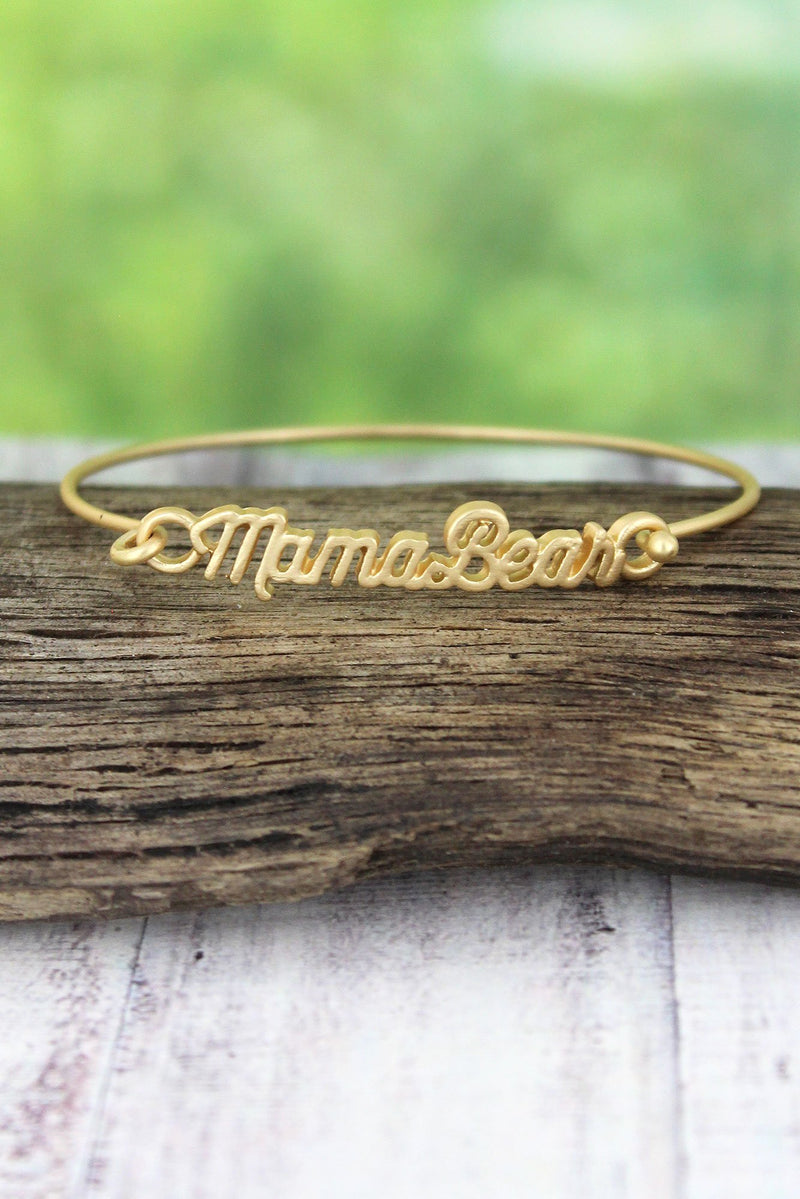 Crave Worn Goldtone Mama Bear Script Bangle