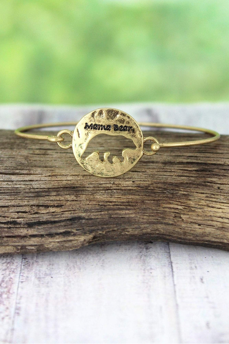 Crave Worn Goldtone Cut-Out Mama Bear Bangle