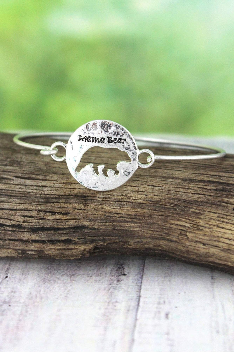 Crave Worn Silvertone Cut-Out Mama Bear Bangle