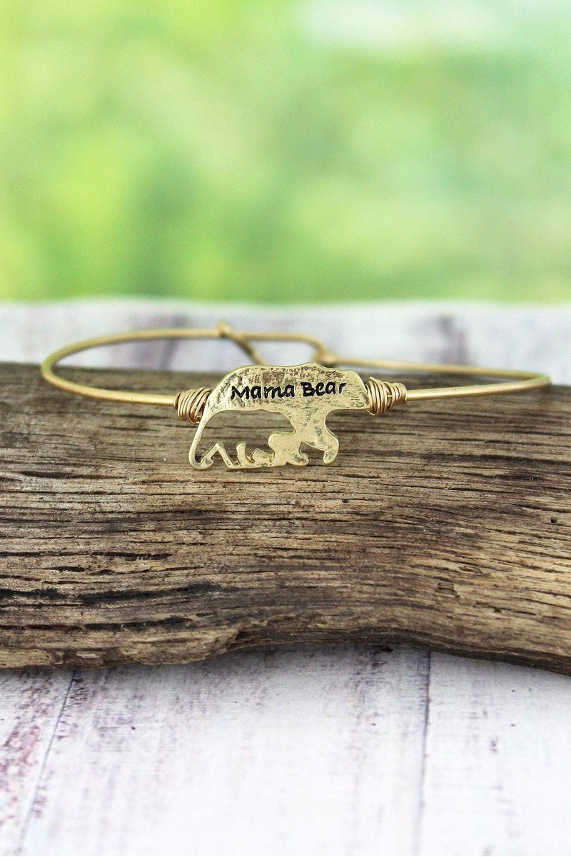 Crave Worn Goldtone Mama Bear with Cut-Out Cub Bangle