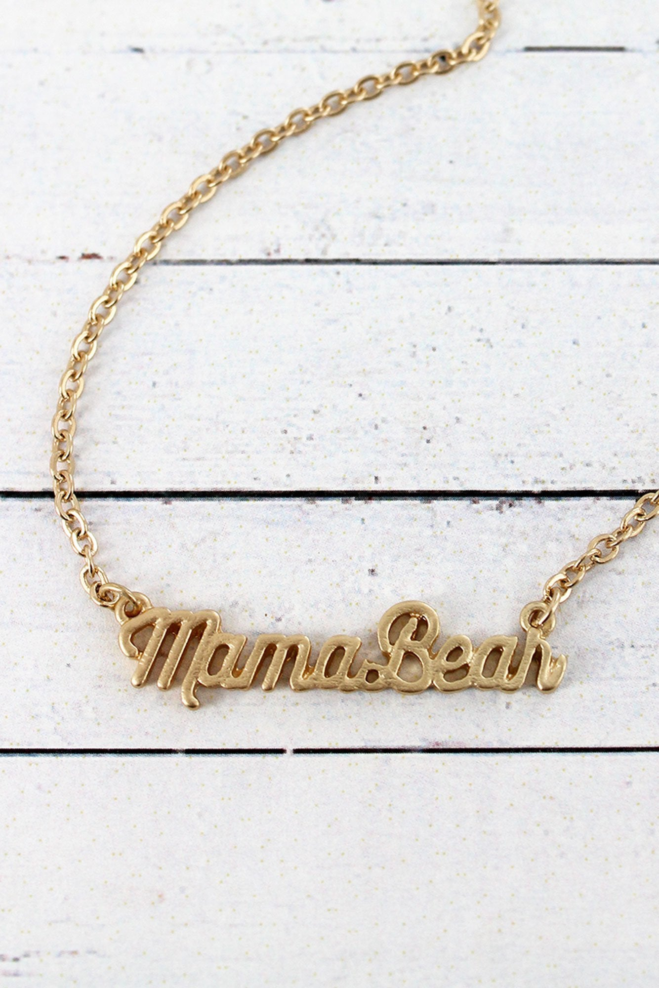 Crave Worn Goldtone Mama Bear Script Necklace