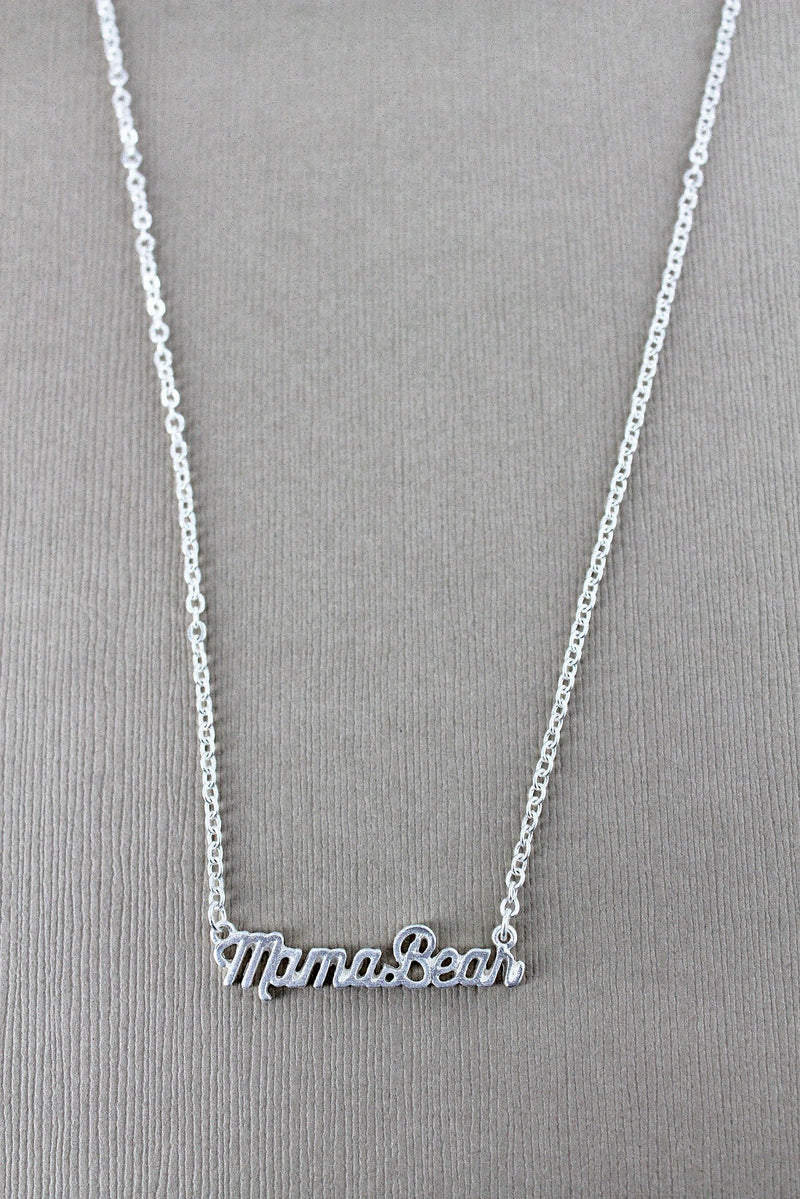 Crave Worn Silvertone Mama Bear Script Necklace